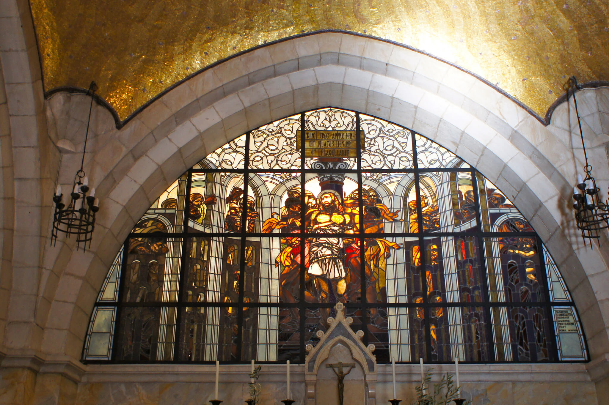 Stained glass window of the Church of the Flagellation