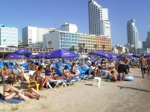 Gordon Beach summertime in israel