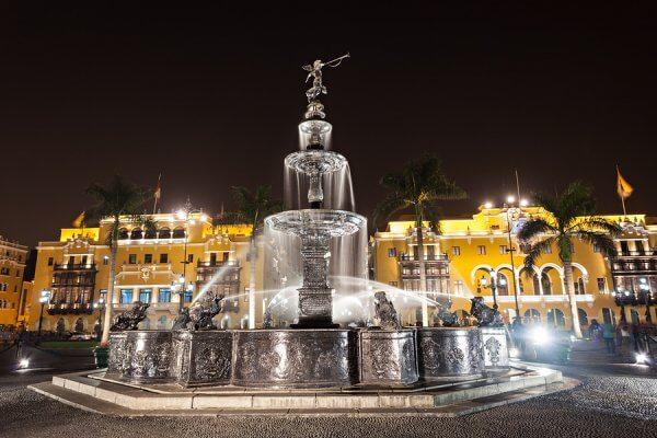 Fountain on the Plaza Mayor in Lima Peru