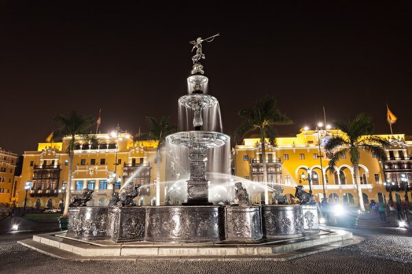 Fountain on the Plaza Mayor in Lima Peru