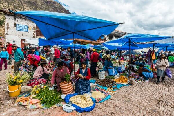 PISAC, PERU - JULY 14: people in the Pisac Market in the peruvia