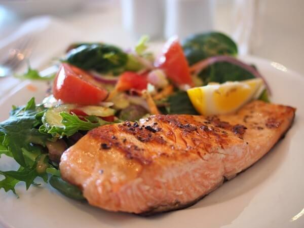salmon dish at restaurant